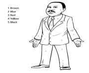 Printable martin luther king day color by number coloring pages