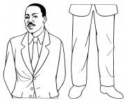 Printable MLK martin luther king day paper dolls coloring pages