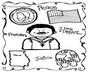 Printable martin luther king day school themes peace freedom coloring pages