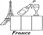 Printable france flag eiffel tower coloring pages