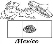 Printable mexico flag iguana coloring pages