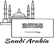 Printable saudi arabia flag mosque coloring pages