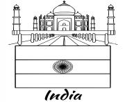 india flag taj mahal