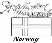 Printable norway flag skiing coloring pages