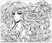 Printable manga girl with flowers by flyingpeachbun coloring pages