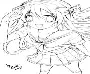 Printable anime school girl coloring pages