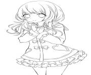 Printable chibi school girl coloring pages