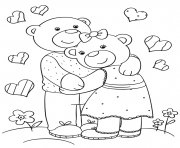 Printable cute bears hugging by Lena London coloring pages