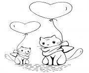 cats with heart balloons
