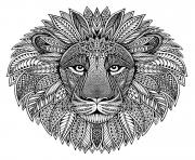 Printable mandala animal adult lion coloring pages