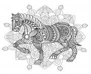 Printable mandala horse adult animal coloring pages