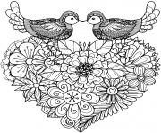 Printable two birds kissing above floral coloring pages