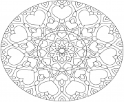 Printable flower mandala with hearts for valentine s day coloring pages