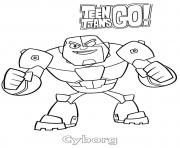 Printable Cyborg Teen Titans Go Cartoon coloring pages