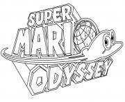 Printable Super Mario Odyssey Logo Nintendo coloring pages