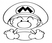Printable baby mario cute coloring pages