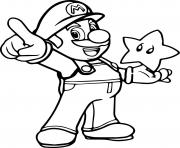 super mario with a star coloring pages