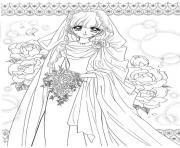 Printable glitter force wedding dress with flowers coloring pages