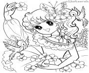 glitter force birds flowers nature coloring pages