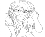 Girl With Glasses Lineart coloring pages