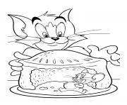 Printable tom and jerry cartoon cake coloring pages