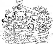 Printable animal cartoon on a boat coloring pages