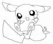 Printable mini pikachu cartoon coloring pages