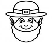 Printable leprechaun face st patrick coloring pages