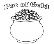 Printable A Pot of Gold Full of Coins St Patricks coloring pages