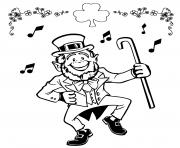 Printable lucky leprechaun irish jig coloring pages