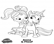 Printable Anna and Floff Rainbow Rangers coloring pages