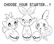 Printable grookey scorbunny sobble coloring pages