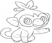 Printable pokemon grookey grass type coloring pages