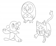 Printable Pokemon sun moon Starters coloring pages