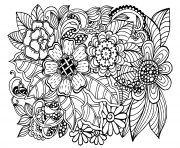Printable beautiful doodle floral pattern adult coloring pages