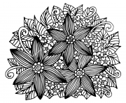 Printable hand drawn floral doodle adult coloring pages