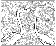 Printable flamingo in fantasy flower garden outline hand drawing good coloring pages