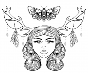Printable woman with horns of deer in dog as a shaman nymph of the forest coloring pages