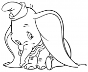 Printable shy dumbo cartoon coloring pages