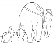Printable dumbo walks with his mother coloring pages