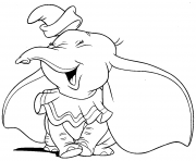Printable dumbo is laughing joyful coloring pages