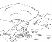 boy on a bicycle chasing butterflies