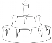 Printable cake with candle coloring pages