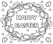 happy easter black and white illustration
