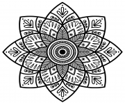 Printable mandala Indian medallion adult coloring pages