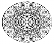 Printable mandala design dots pattern coloring pages