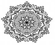 Printable cute mandala black and white coloring pages