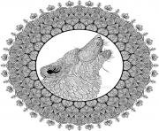 Printable mandala animal adult difficult wolfe coloring pages