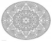 Printable mandala for adult geometric art therapy coloring pages