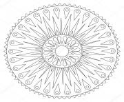 Printable mandala geometric rays ornament coloring pages